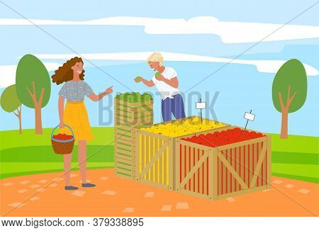 Woman Buying Products In Market Vector, Summer Fair With Organic Food And Meal. Fruits From Farmers,