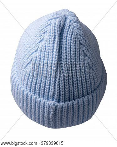 Womens Light Blue Hat . Knitted Hat Isolated On White Background.