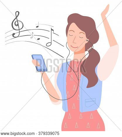 Woman With Phone Vector, Isolated Female Character Listening To Music On Smartphone. Sheet With Note