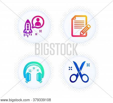 Startup, Article And Headphones Icons Simple Set. Button With Halftone Dots. Scissors Sign. Develope