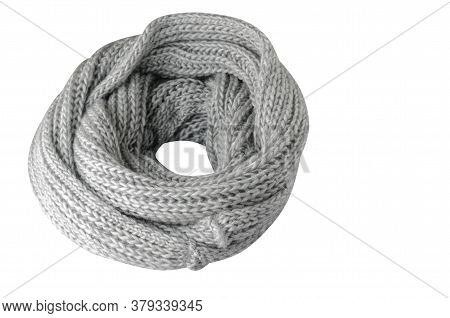 Light Gray Scarf Isolated On White Background.scarf Top View .