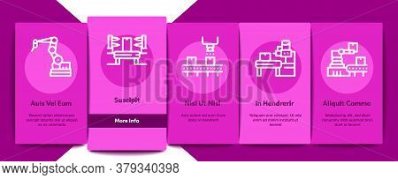 Manufacturing Process Onboarding Mobile App Page Screen Vector. Manufacturing Conveyor Car And Produ