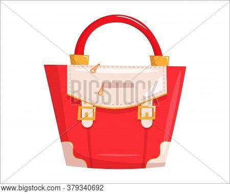 Red Woman Handbag. Isolated Female Fashion Accessory. Beautiful Woman Hand Bag Glamour Style Design