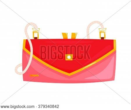 Red Baguette Bag. Isolated Female Fashion Accessory. Beautiful Woman Handbag Glamour Style Design Wi