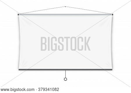 Projection Screen. Isolated Blank White Hanging Projection Screen Display. Vector Education, Visual