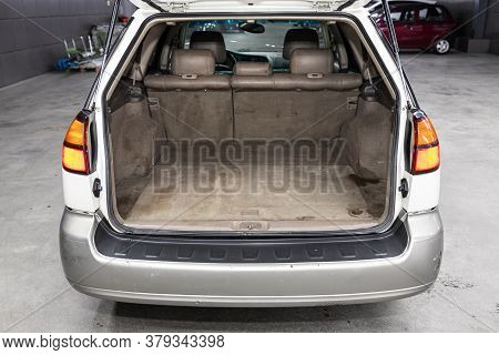 Novosibirsk/ Russia - August 01 2020: Subaru Outback, Rear View Of A Car With An Open Trunk. Exterio