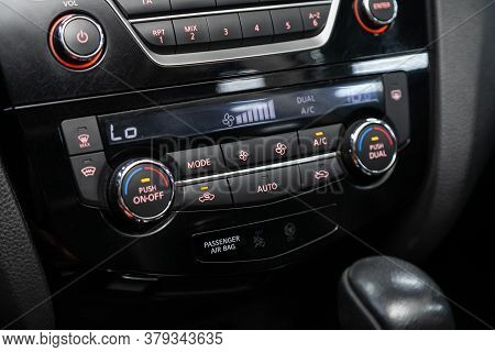 Novosibirsk/ Russia - August 01 2020: Nissan X-trail, Black  Detail With The Air Conditioning Button