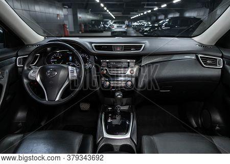Novosibirsk/ Russia - August 01 2020: Nissan X-trail, Dark Car Interior - Steering Wheel, Shift Leve