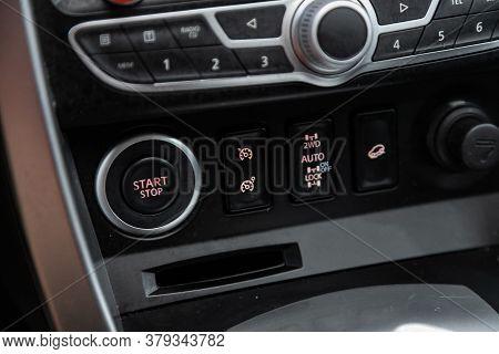 Novosibirsk/ Russia - August 01 2020: Renault Koleos,car Engine Push Start Stop Button Ignition Remo