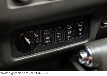 Novosibirsk/ Russia - August 01 2020: Nissan Navara, Close Up 2wd, Auto, Lock  Button Switches Contr