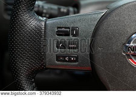 Novosibirsk/ Russia - August 01 2020: Nissan Navara, New Black Steering Wheel With Multifunction But