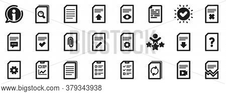 Set Of Report, Checklist And Copy Icons. Document Management Icons. Download File, Remove And Attach