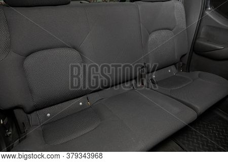 Novosibirsk/ Russia - August 01 2020: Nissan Navara, Rear Seat For Passengers In Black Textile. Comf