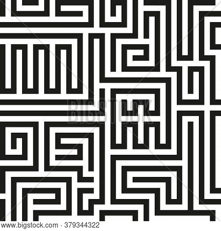 Black Seamless Vector  Labyrinth On White Background. Black Maze Pattern. Vector Maze Background. La