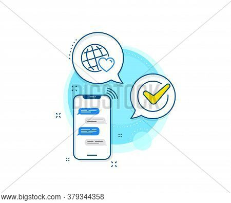 Friendship Love Sign. Phone Messages Complex Icon. Friends World Line Icon. Assistance Business Symb
