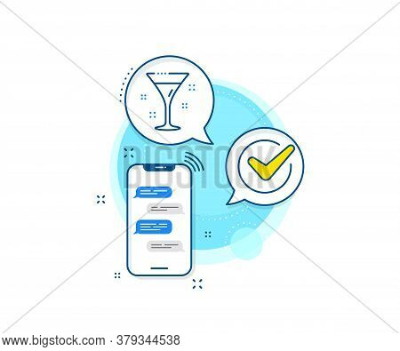 Martini Drink Sign. Phone Messages Complex Icon. Cocktail Glass Line Icon. Hotel Service Symbol. Mes
