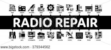 Radio Repair Service Minimal Infographic Web Banner Vector. Radio Repair Electronic And Mechanical E