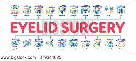 Eyelid Surgery Healthy Minimal Infographic Web Banner Vector. Eyelid Surgery Blepharoplasty Cosmetic