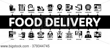 Food Delivery Service Minimal Infographic Web Banner Vector. Food Delivery Boy And Motorcycle, Onlin