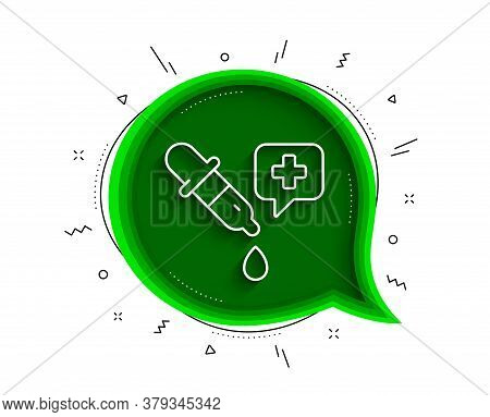 Chemistry Pipette Line Icon. Chat Bubble With Shadow. Laboratory Sign. Analysis Lab Symbol. Thin Lin