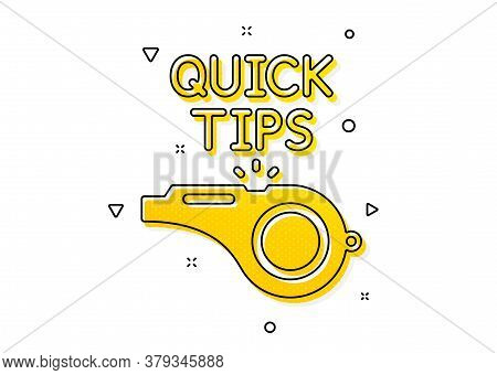 Helpful Tricks Sign. Quick Tips Whistle Icon. Yellow Circles Pattern. Classic Tutorials Icon. Geomet