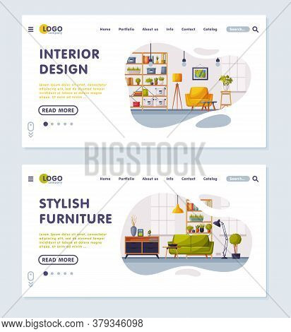 Interior Design, Stylish Furniture Landing Page, Cozy Apartments With Comfy Furniture, Creation Home