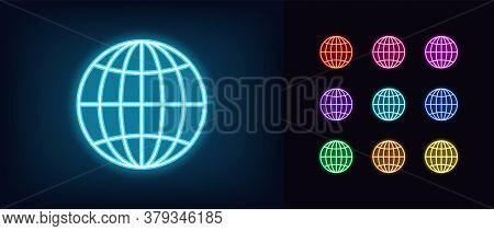 Neon Globe Icon. Glowing Neon World Sign, Globe Internet In Vivid Colors. Digital Earth, Internation