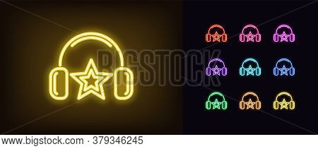 Neon Music Star Icon. Glowing Neon Dj Star With Headphones, Fashion Superstar In Vivid Colors. Music