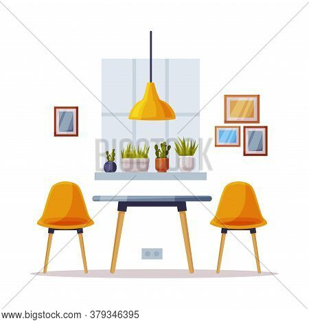Modern Cozy Room Interior Design, Comfortable Chairs And Table, Comfy Furniture And Home Decoration