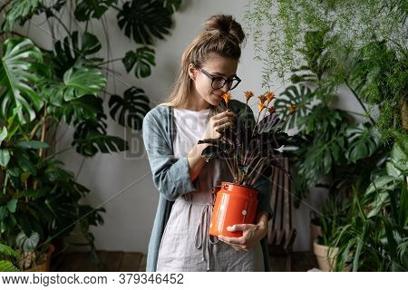 Young Smiling Woman Florist In Eyeglasses Wearing Linen Dress, Holding A Flowering Calathea Plant In