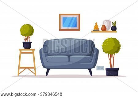 Cozy Room Interior, Comfy Sofa And Potted Houseplants Vector Illustration On White Background