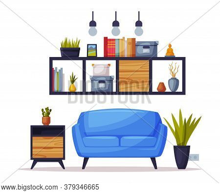 Cozy Room, Comfy Furniture And Home Decoration Accessories In Trendy Style Vector Illustration On Wh