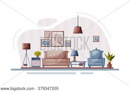 Modern Room Interior Design, Cozy Apartments With Comfy Furniture And Home Decor In Trendy Style, So