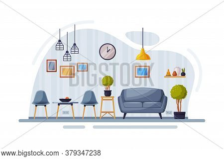 Modern Room Interior Design, Cozy Apartments With Comfy Furniture And Home Decor, Sofa, Chairs And C