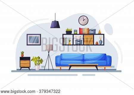 Modern Room Interior Design, Cozy Apartments With Comfy Furniture And Home Decor, Wooden Bookshelf,