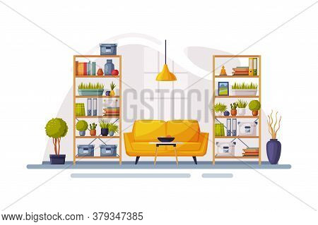 Modern Room Interior Design, Cozy Apartments With Comfy Furniture And Home Decor, Bookcases And Sofa