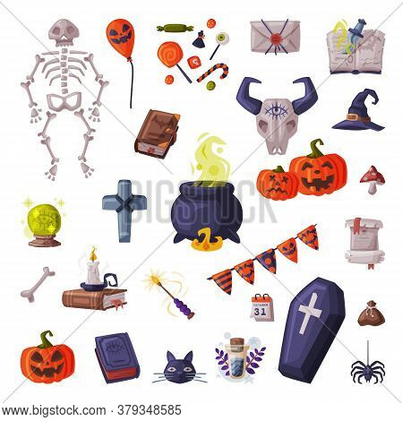 Halloween Symbols Collection, Holiday Party Design Elements, Skeleton, Pumpkin, Coffin, Witch Cauldr