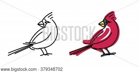 Red Cardinal Bird Portrait. Vector Stylized Illustration Or Simple Logo Sign.