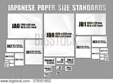 Full Set Of Japanese Paper Sheets Standards Of Series Jis A, Jis B, Format Shiroku, Kiku Ban. Mock U