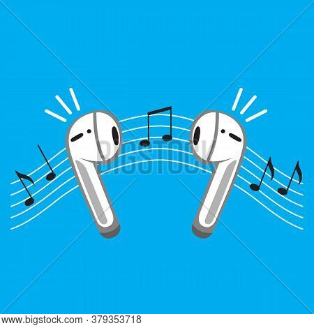 Wireless Earphones Flat Icon On Blue. Personal Earpieces Audio Device With Music Notes. Concept List
