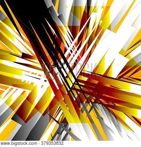 Black, White, Orange Radial Lines Abstract Background. Grange Textured Design Backdrop. Geometric Jp