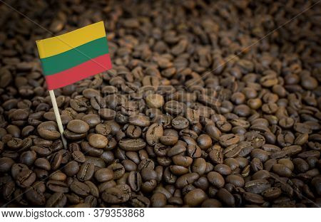 Lithuania Flag Sticking In Roasted Coffee Beans. The Concept Of Export And Import Of Coffee