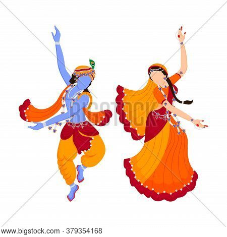 Lord Krishna And Radha Rani Dancing ( Rasleela) With Each Other Full Of Joy And Love. God Of Love. I