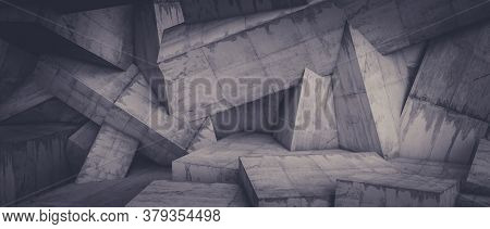 minimalistic geometric abstract background of a concrete wall. 3d render. nobody around.