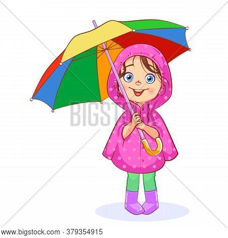 A Funny Little Girl In A Pink Raincoat Holds A Bright Multi-colored Umbrella. Vector Cartoon сutout