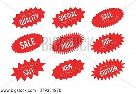 Red Sale Starburst Sticker Set - Collcetion Of Stared Oval Labels And Badges With Best Offer And Dis
