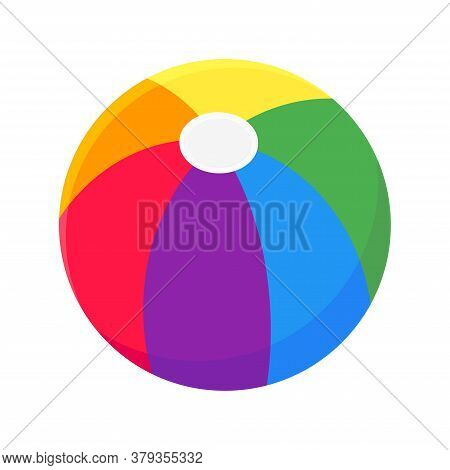 Beach Ball Flat Style Design Vector Illustration Icon Sign Isolated On White Background. Retro Style