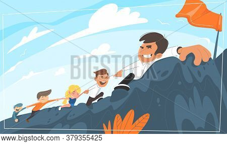 Boss Leads Office Staff Uphill. Purpose For The Goal. While Pulling Along His Colleagues. Concept Fo