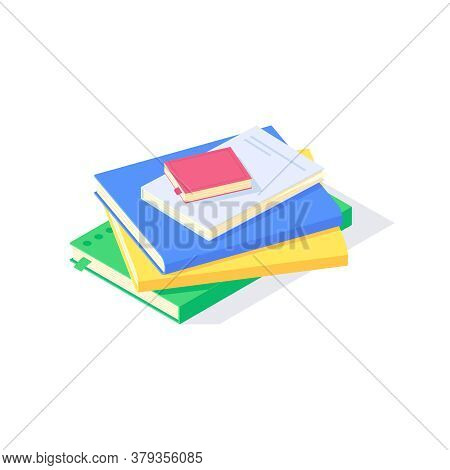 Isometric Textbook Study School Education Knowledge Learn Library Flat Icon Symbol Vector Illustrati