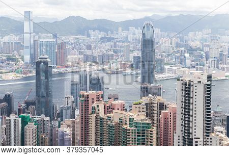 Hong Kong City Central District, Aerial View With Tall High-rise Office Buildings